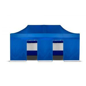 Grizzly-outdoor easy-up zijwand 6 meter met deur ingang blauw